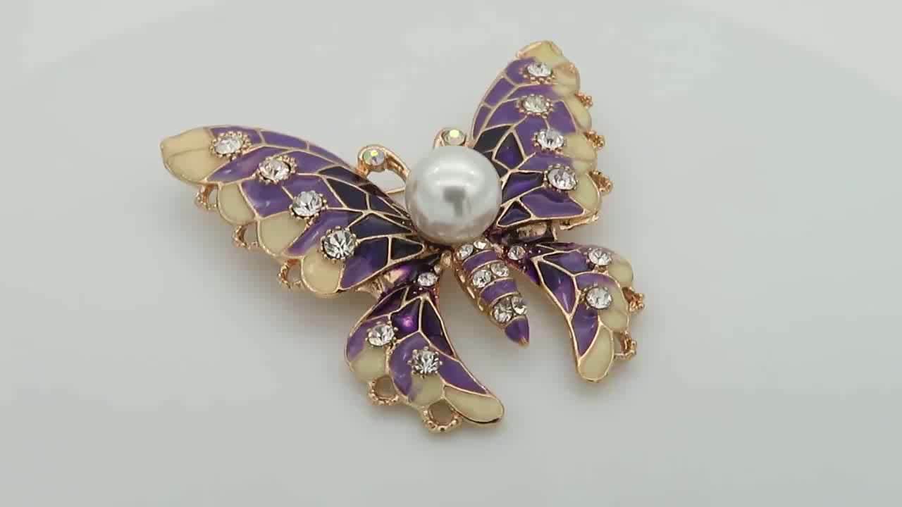 Jewelry factory wholesale crystal pin brooch lovely pearl brooches