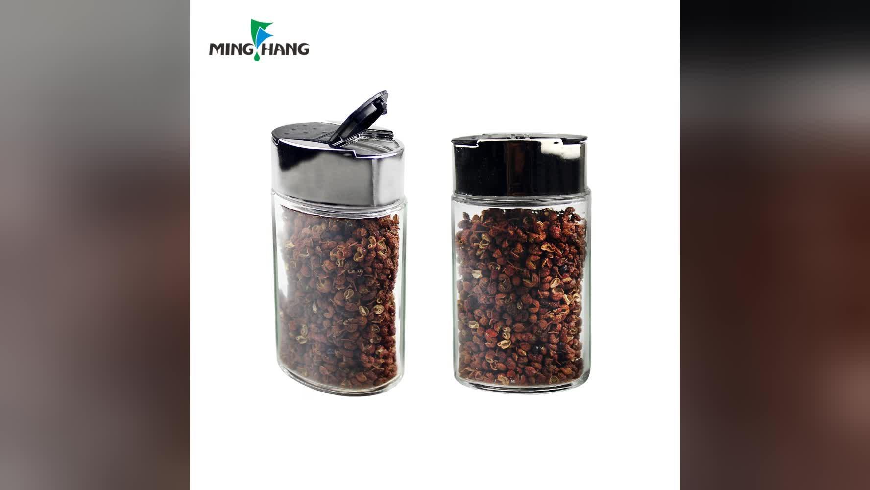 100 ml lege platte glas kruidkruik slat peper shaker jar met plastic flip cap groothandel