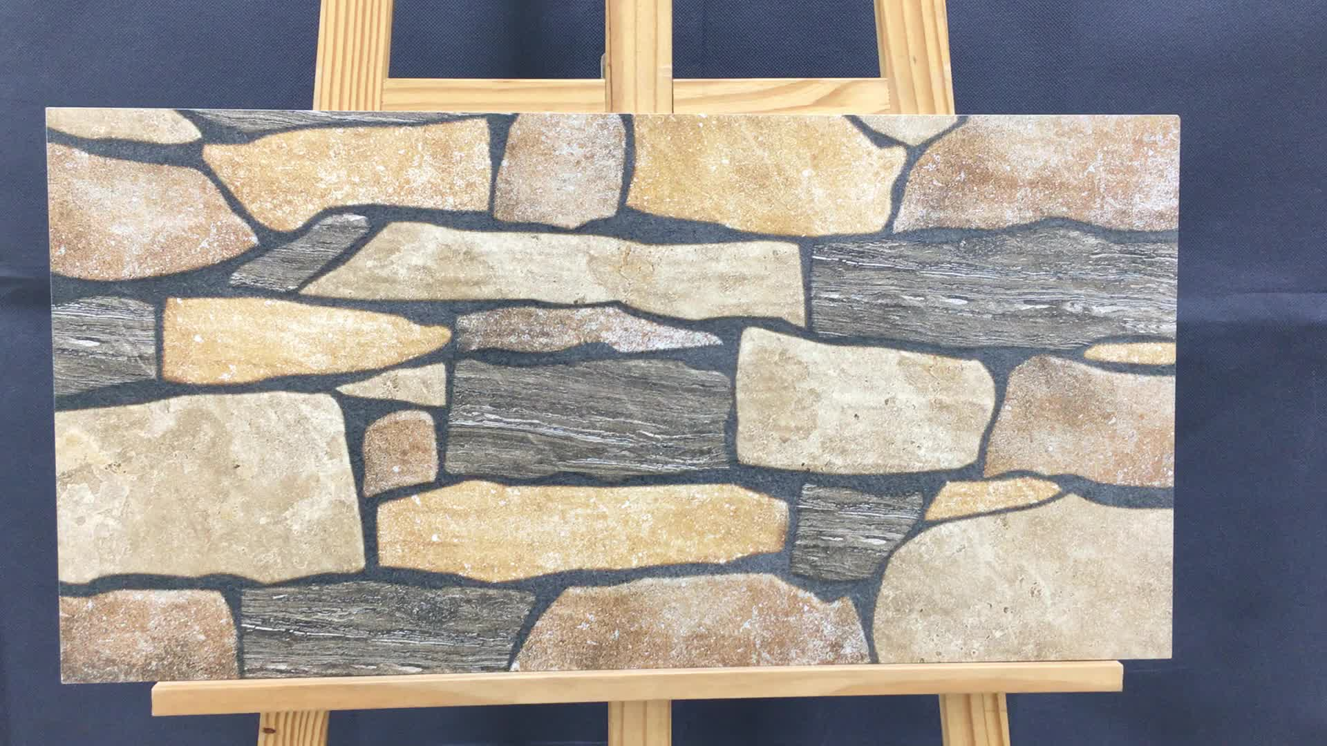 New products 3D inkjet rock surface thin ceramic 7.5mm stone cladding tiles