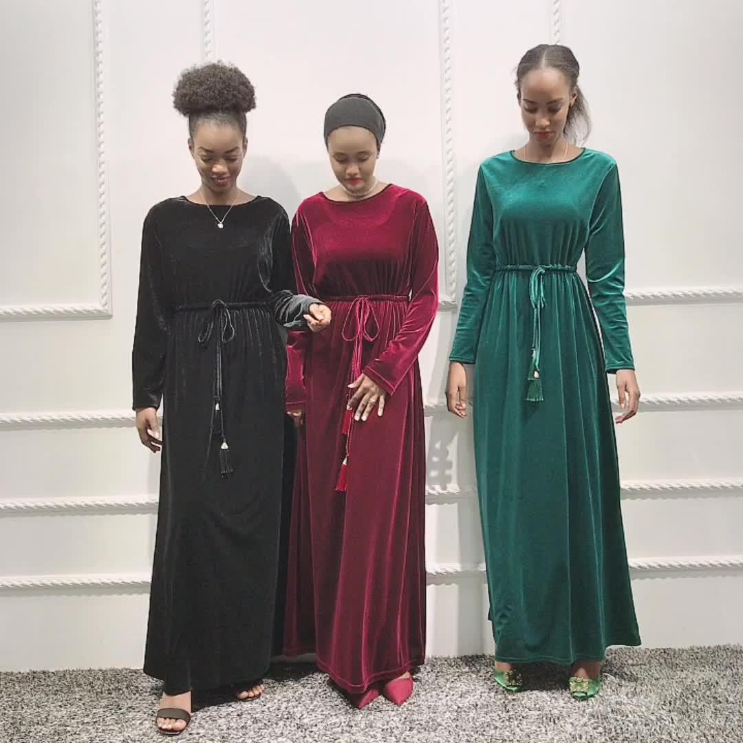 Neue ankunft hohe qualität mode muslimischen samt maix kleid abaya islamische kleidung