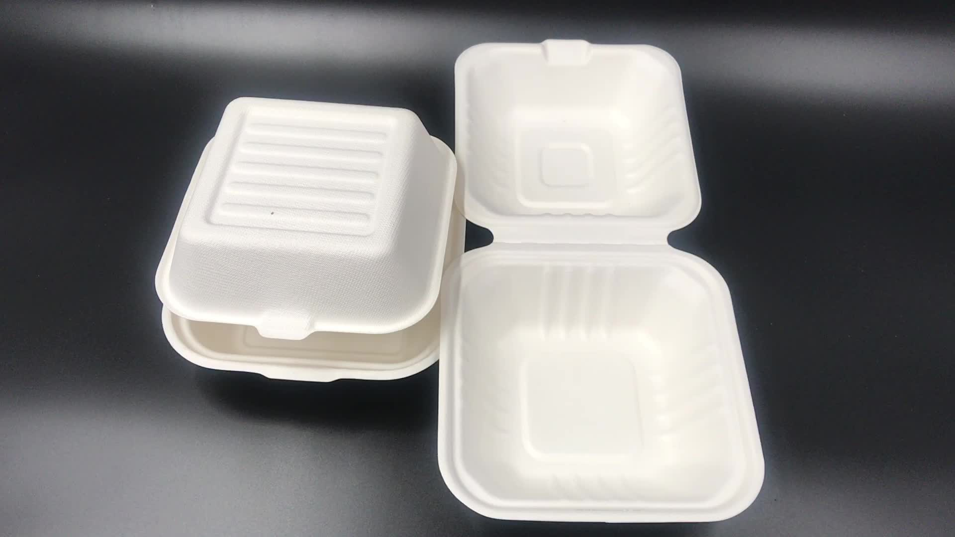 Eco 100% compostable packaging box sugarcane food box disposable biodegradable products