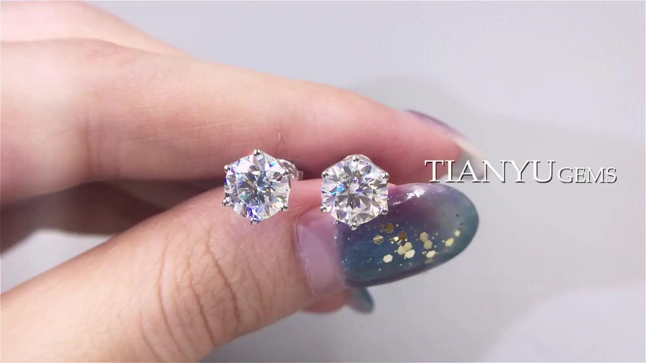 Tianyu Gems Fashion Lab Grown Moissanite Diamond 14K/18K Solid White Gold Earrings