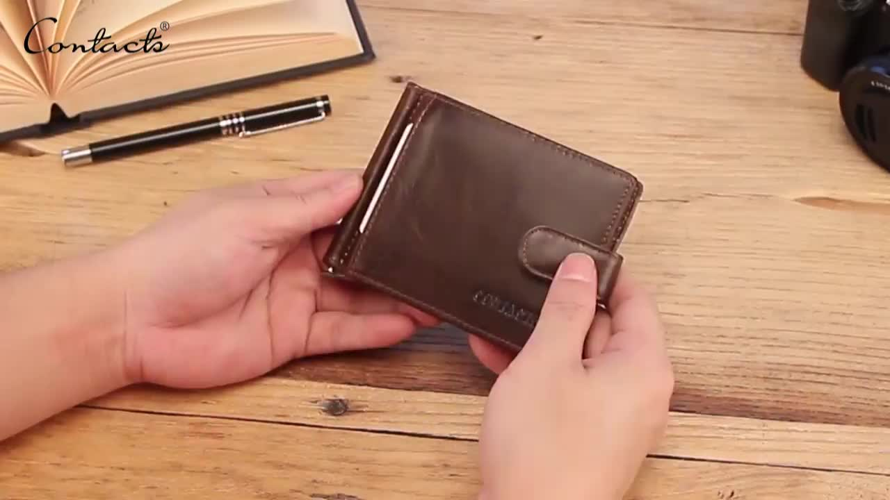 drop ship contact's hot sale crazy horse leather rfid blocing zipper coin pocket anti-magnetic mens leather diary card holder