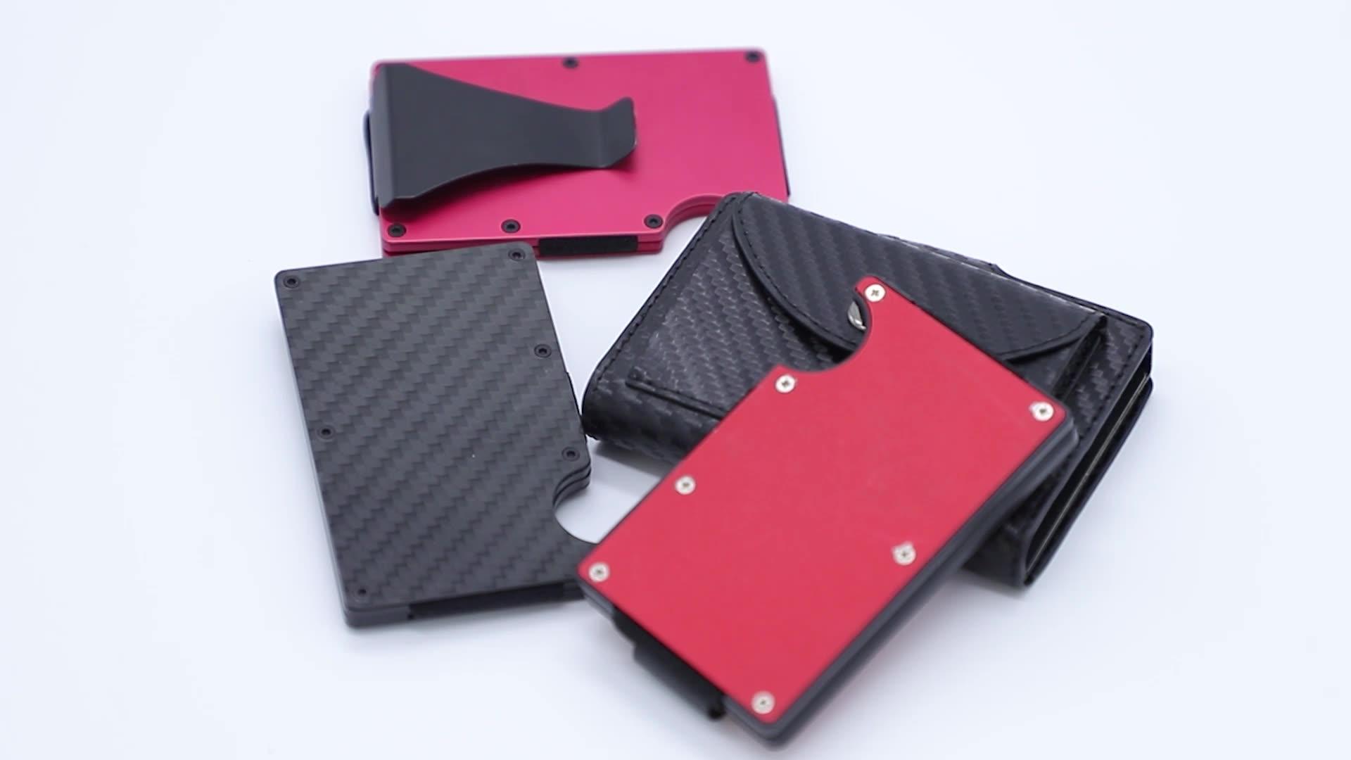 2020 new release Carbon Fiber Aluminum Mens Wallet Money Clip Wallets for Men RFID Blocking Minimalist Wallet