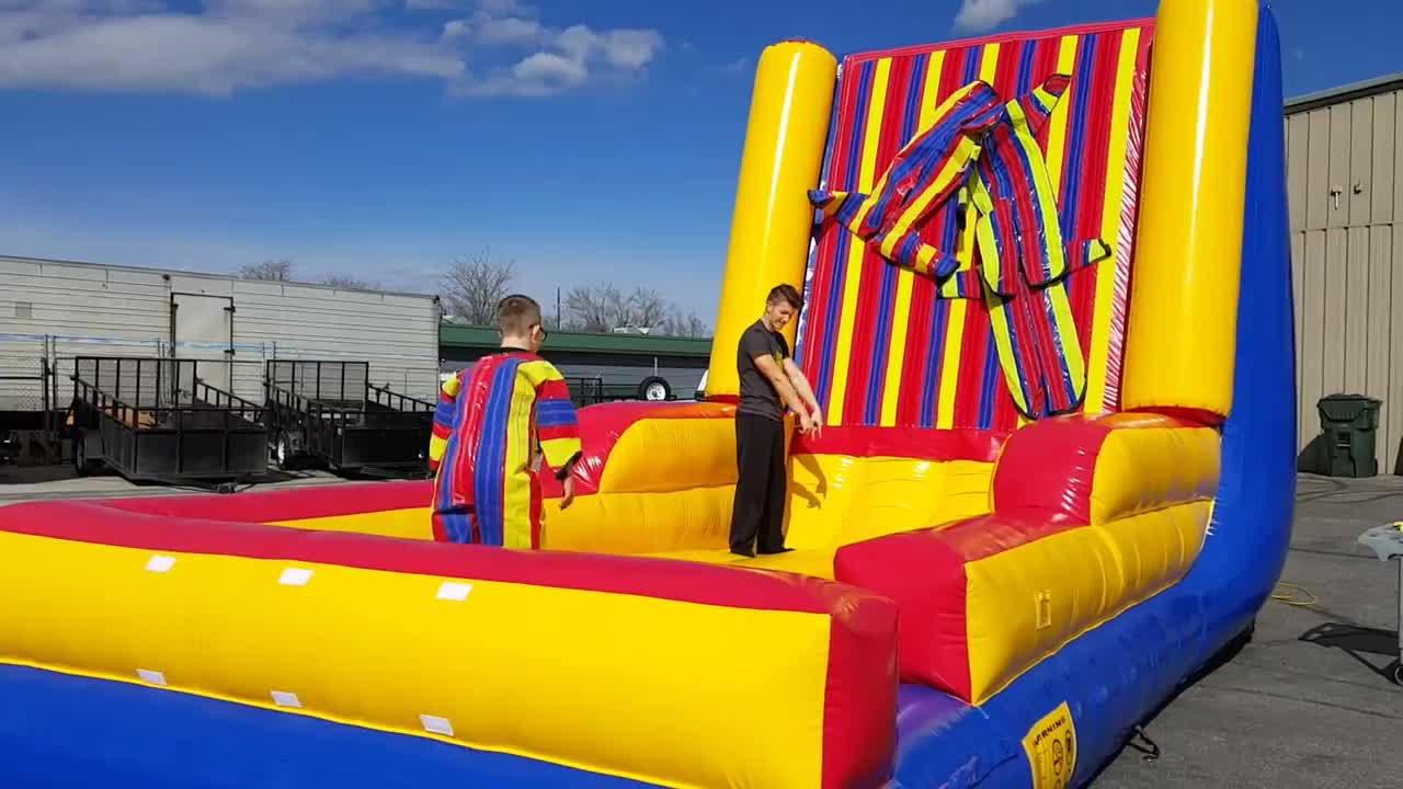 Factory Cheap Inflatable Outdoor Carnival Games Magic Jumping Sticky Wall Hook & Loop Inflatable Sticky Wall For Sale