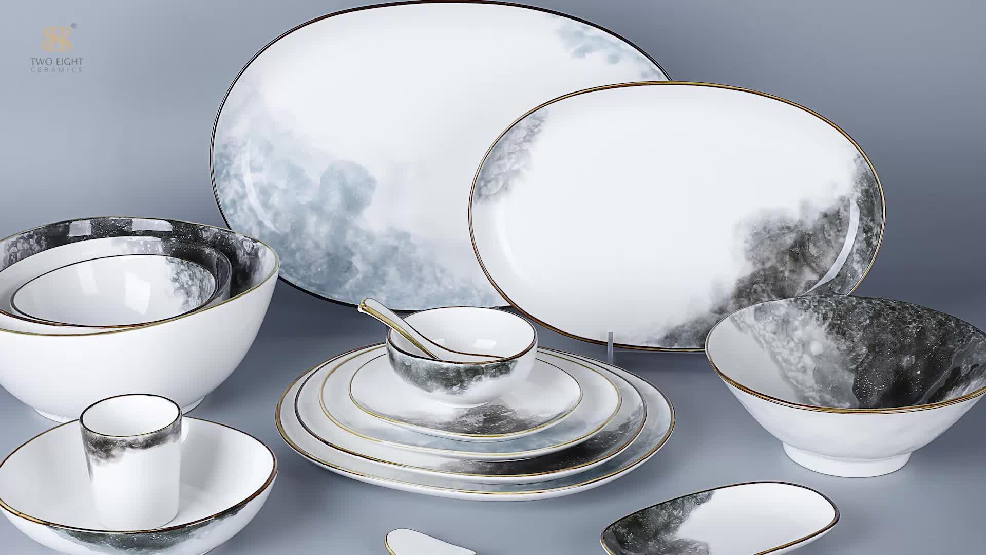 Maldives Resort Wholesale Chaozhou  First Class Kitchen Plates Set Dinner, Elegance Fine Porcelain,Dinner Set Crockery<