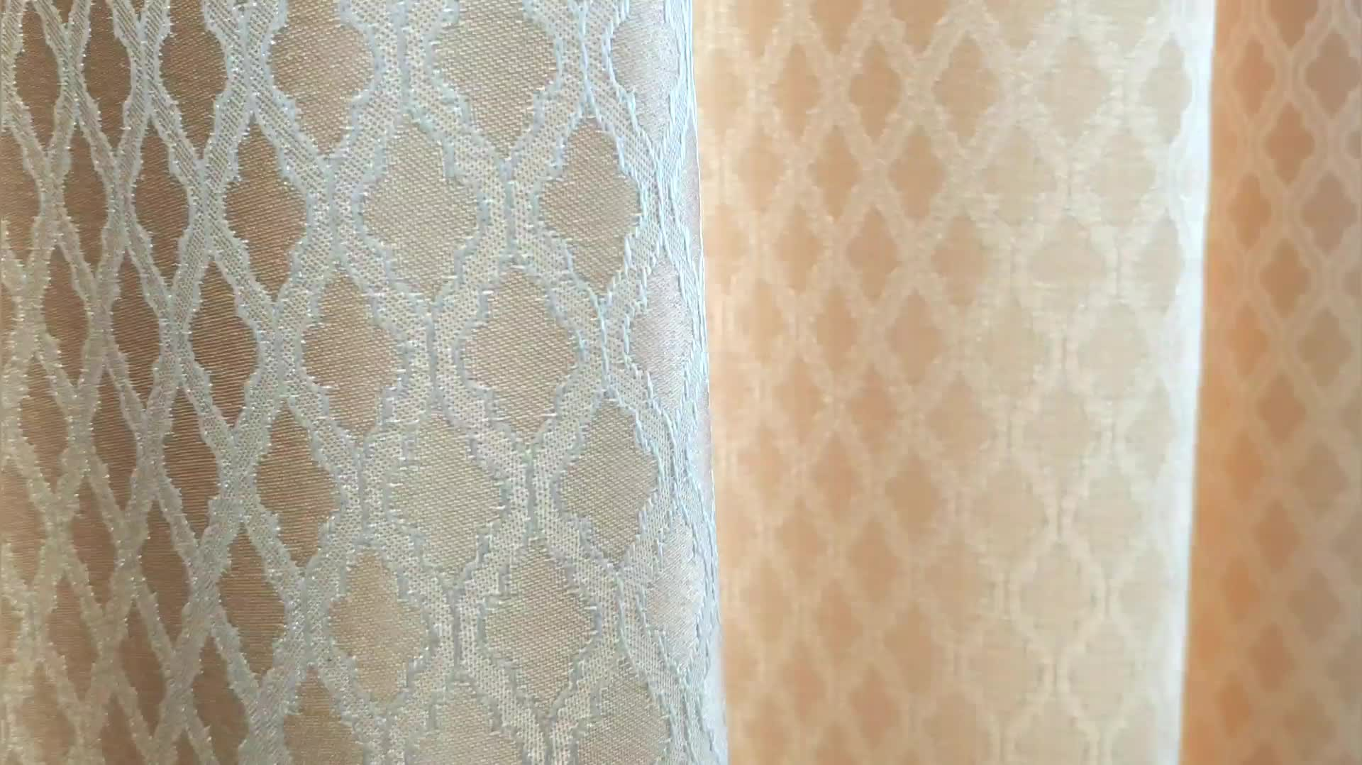 Geometrical jacquard wave diamond yarn dyed fabric ready made curtains for home grommet panel clover trellis designed