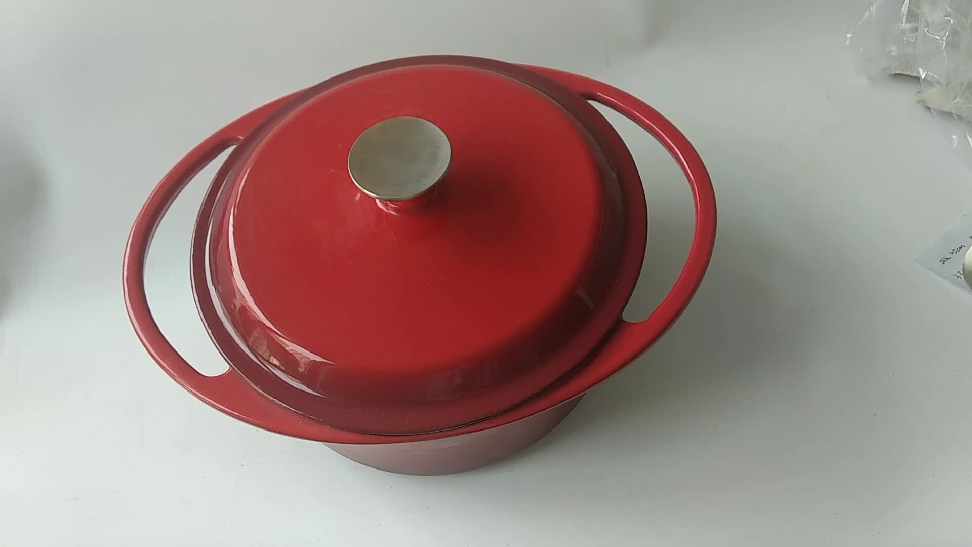 赤エナメル鋳鉄キャセロール皿鋳鉄ハンドル