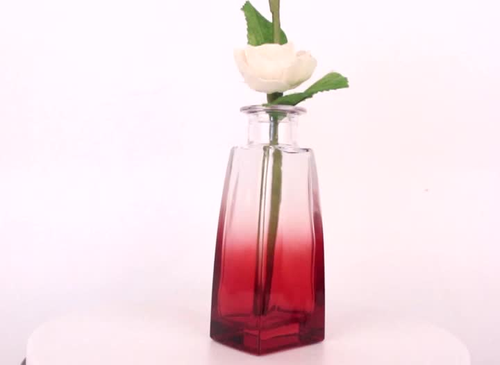 100ml gradient color aroma reed diffuser glass bottle perfume bottle with bird shaped glass lid
