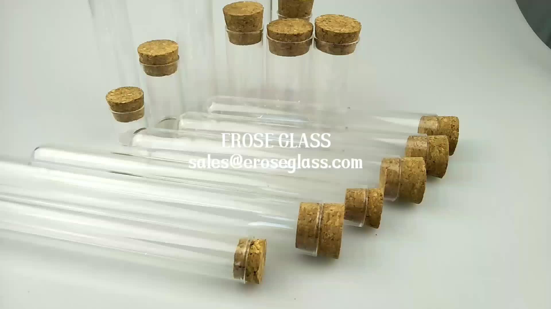 ขายส่งที่กำหนดเองแบนหรือรอบด้านล่างแก้วหลอดที่มีฝาปิด cork