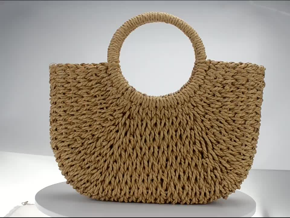 Round Handle Cotton Lining Wholesale Straw Summer Beach Bags Vintage