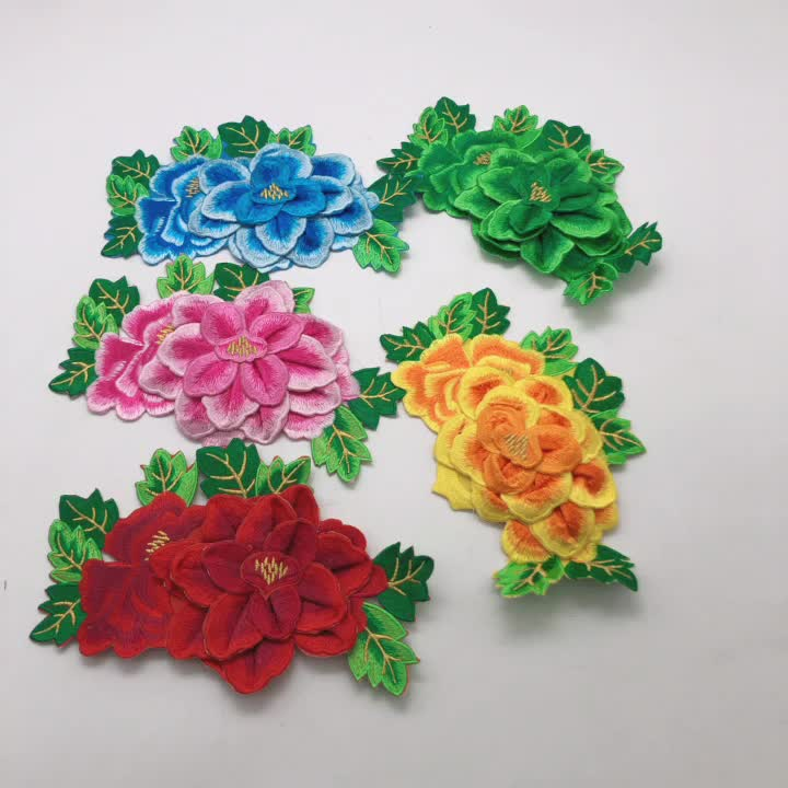 3D Lace Flower Patch iron- on Applique Rose Patches for Wedding Dress Cloth.