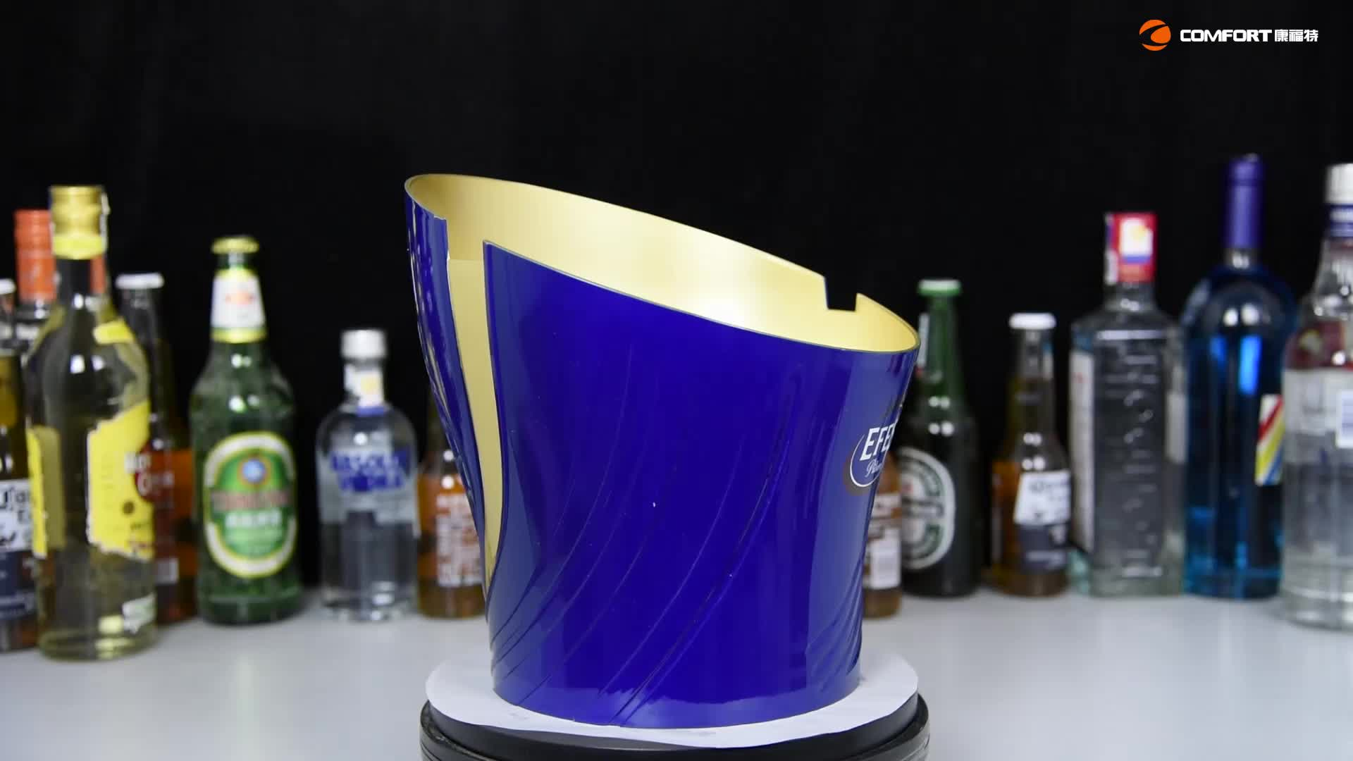china factory directly sell transparent or customized plastic led ice bucket for party club