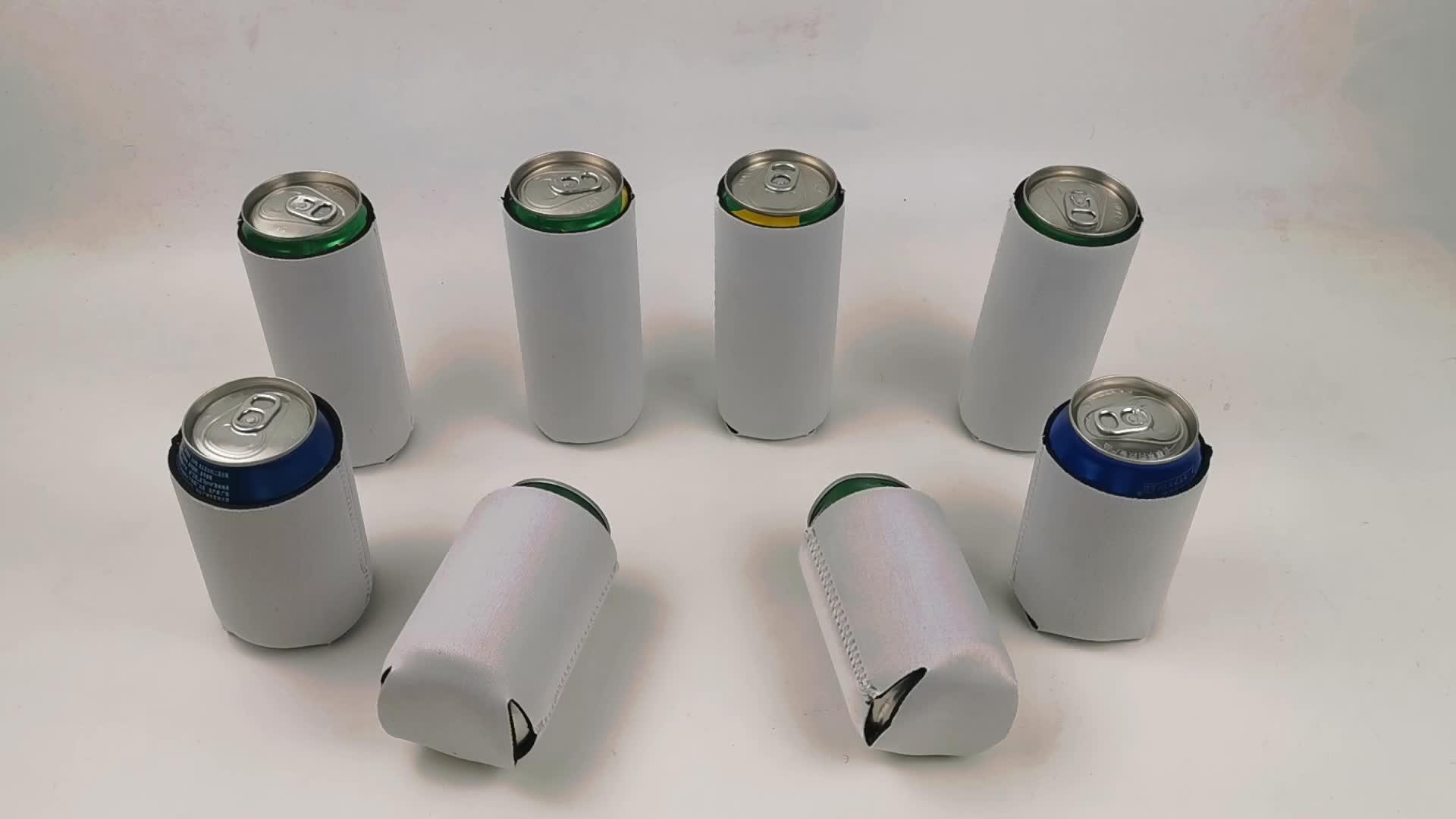 Blank White Foldable 12oz/330ml Can Cooler Neoprene Stubby Holder Insulated Cooler Bag For Sublimation