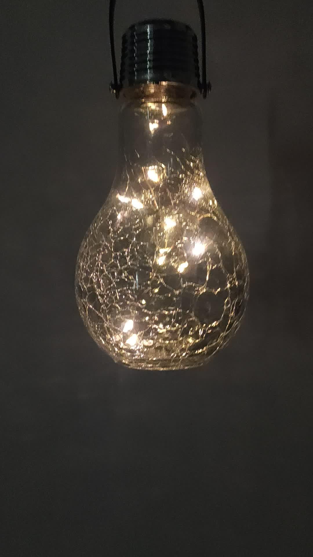 2020 New Solar LED crackled แก้วแขวนพลังงานแสงอาทิตย์แขวนโคมไฟจี้โคมไฟสำหรับห้องรับแขกโรงแรม