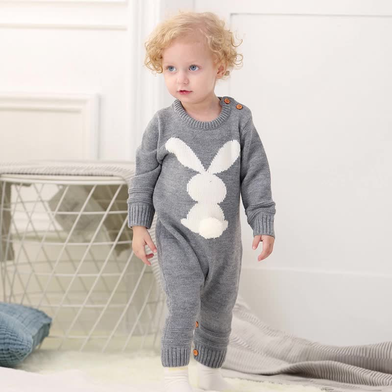 Mimixiong Wholesale Best Hot Sale Knitted Baby Romper Bunny Toddler Baby Wear Infant Clothing OEM Factory Price