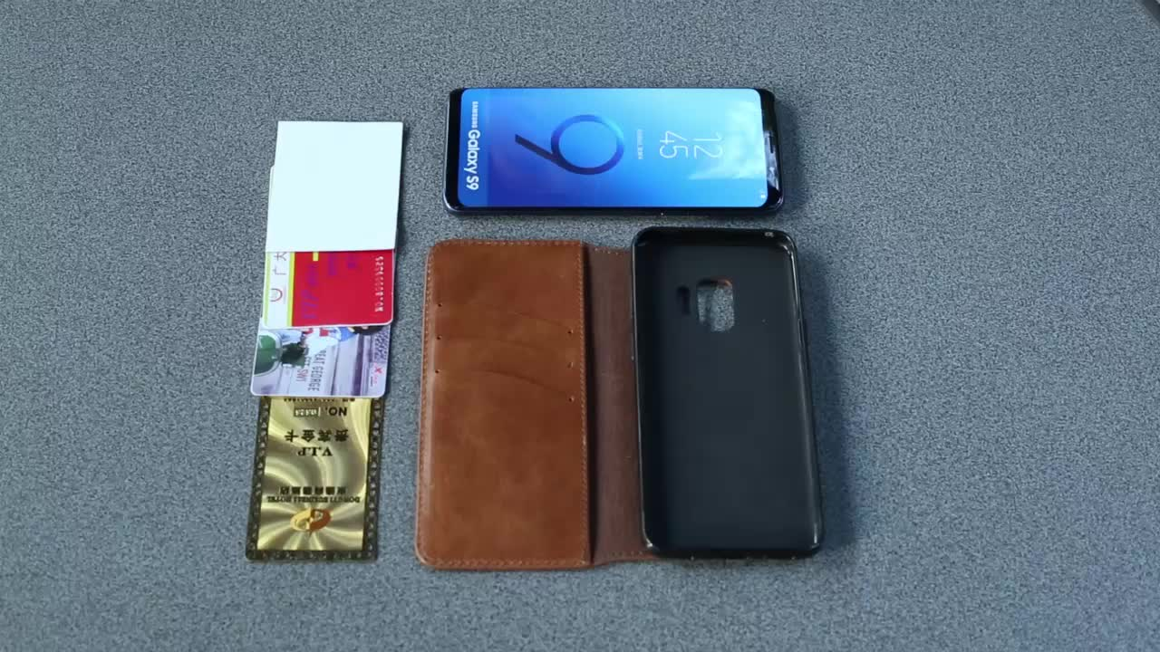 Free design simple business magnetic shockproof genuine leather flip phone case with card slot for Samsung Galaxy S9