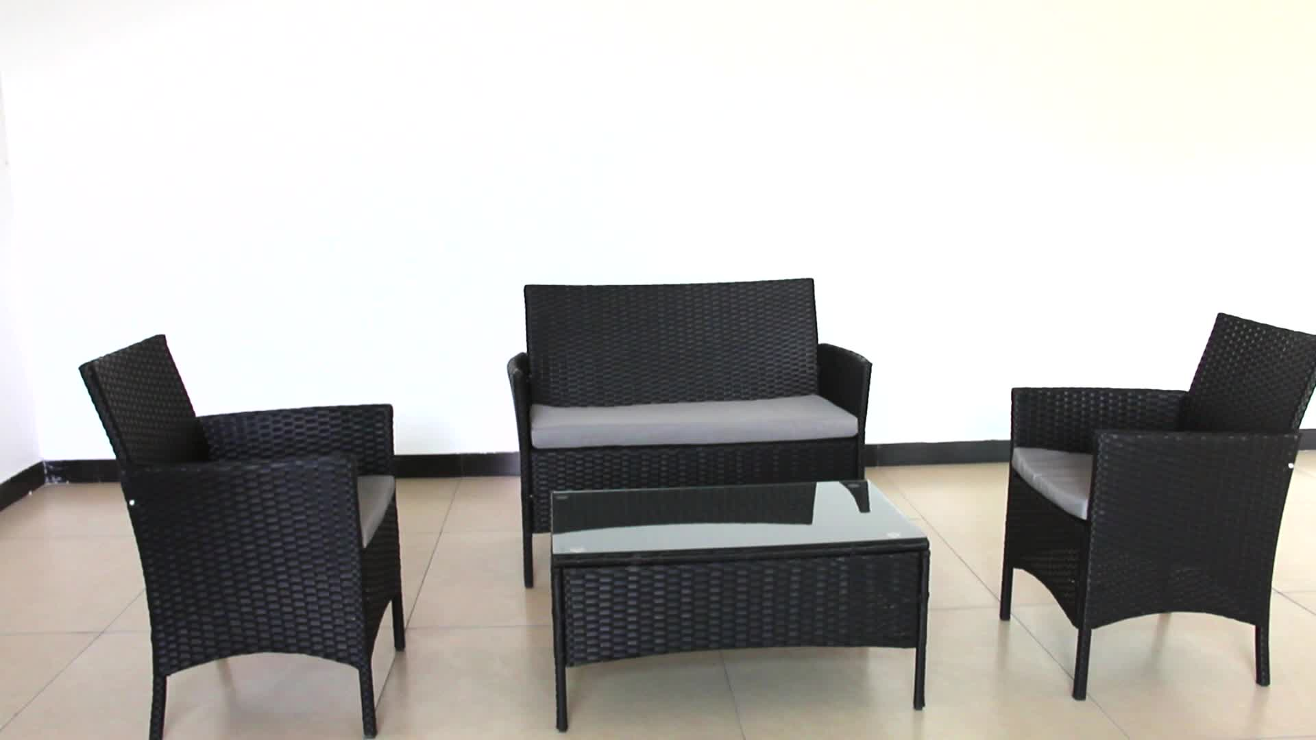 Barato 4 piezas de mimbre sofá conjunto sofá de ratán Patio al aire libre barato muebles de ratán