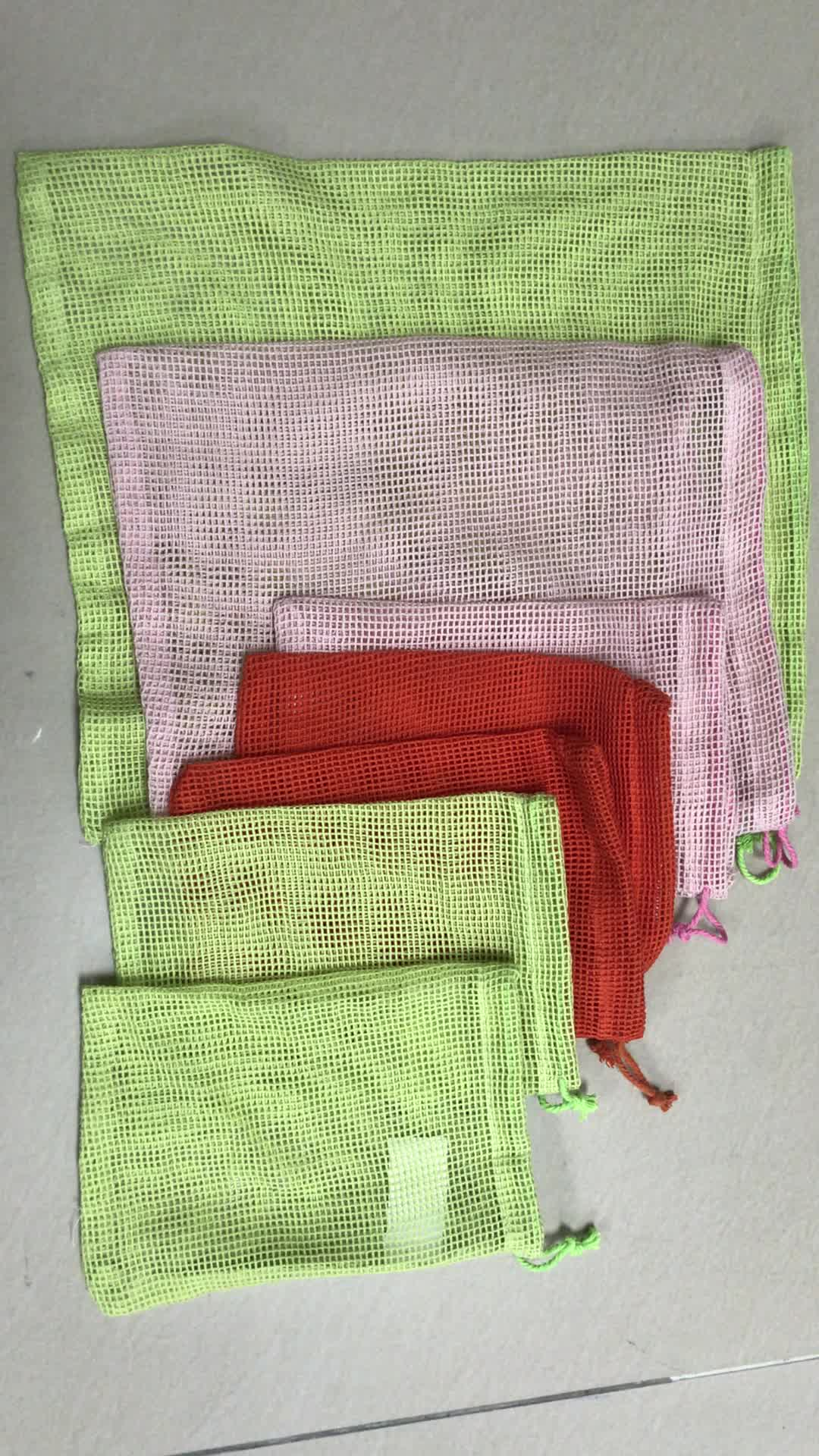 colorful organic cotton eco-friendly storage bags mesh produce bag