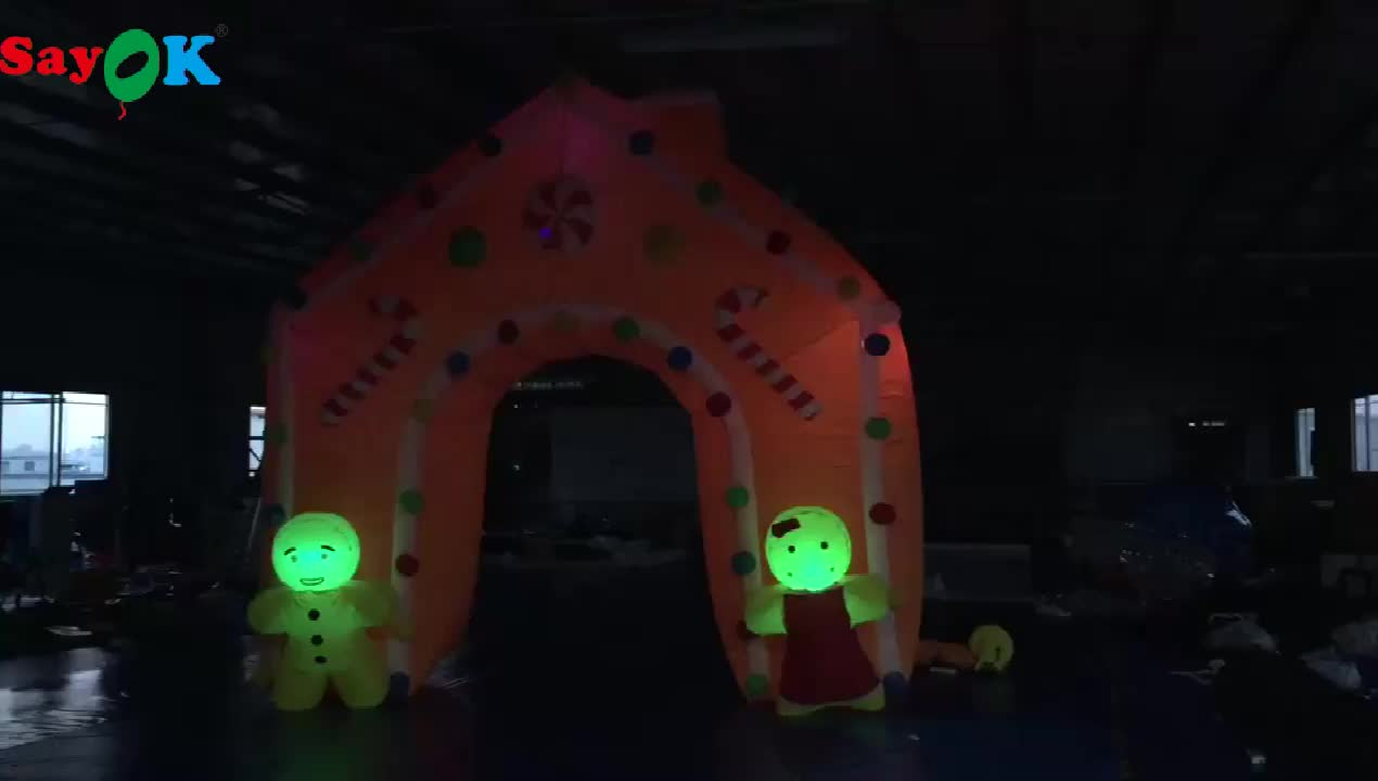 outdoor LED light inflatable entrance arch for Christmas decoration
