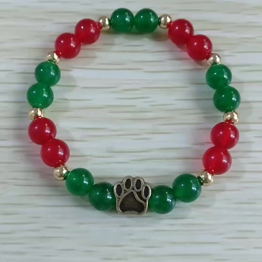 2019 Hot Sell Dog Bead Bracelet Natural Stone Red And Green Jade Christmas Bronze Paw Bracelet For Women