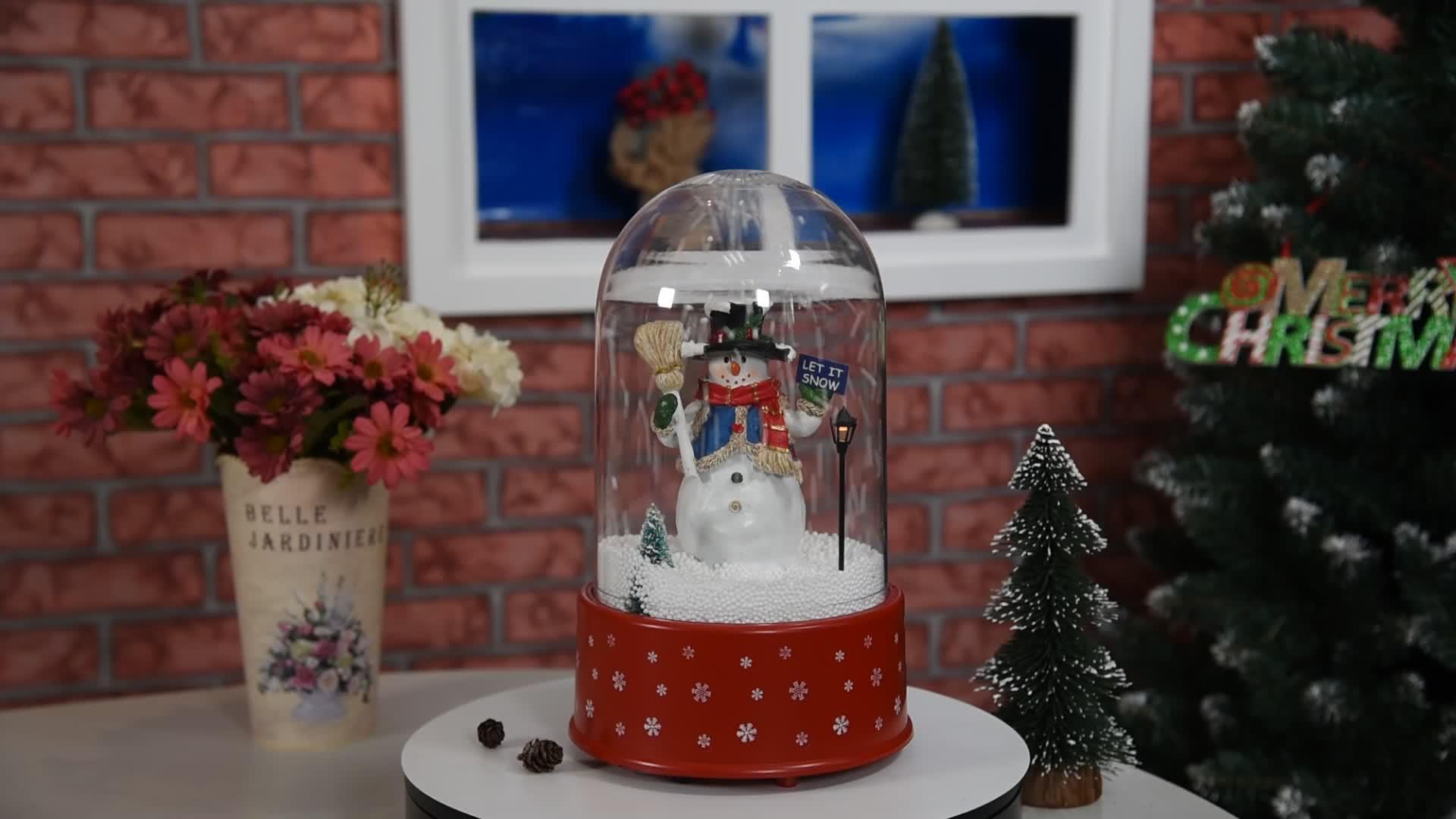 Снег Рождественский музыкальный куб с снеговиком внутри