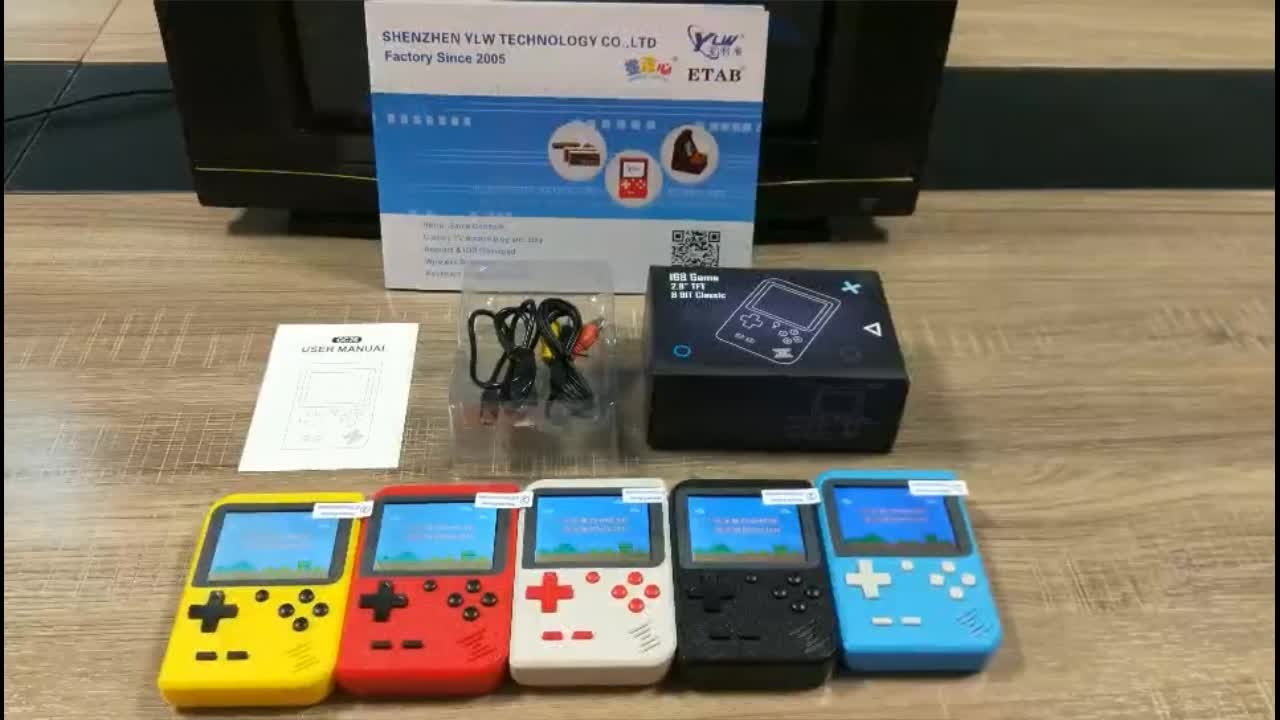 YLW Cheap 2.8inch Retro Pocket Games Game Console Handheld 168 in 1 Classic Video Game Player for kids