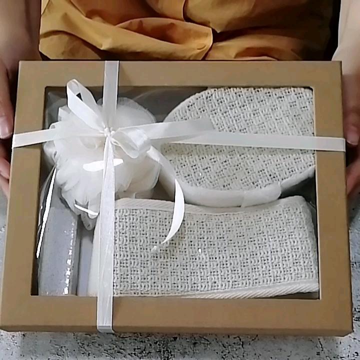 Peeling doğal lif kabağı sünger banyo havlusu örgü banyo topu ponza taşı hediye kutusu setleri banyo ve duş için