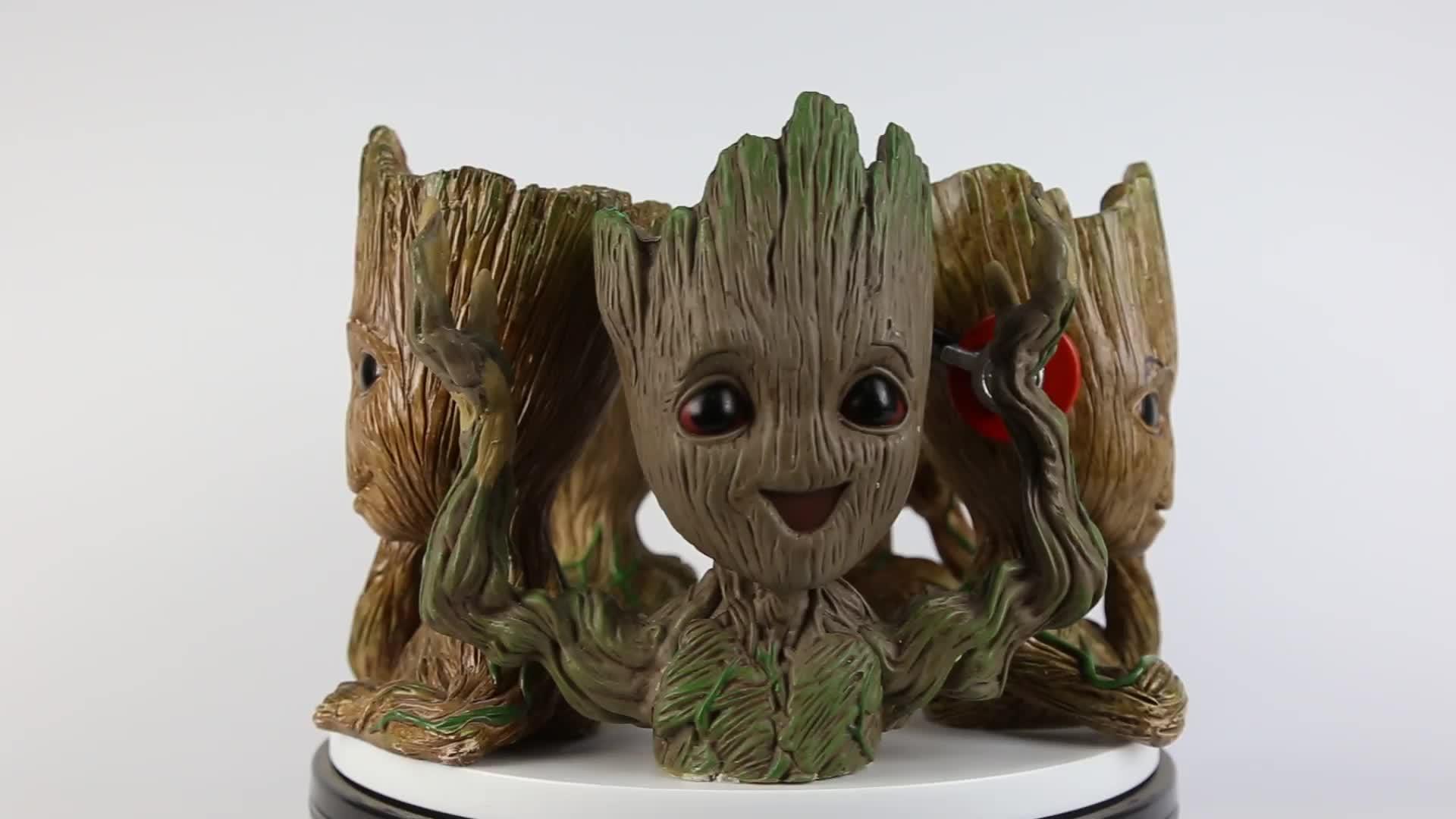 Handmade Bonito vaso de Flores bebê dançando groot estatueta