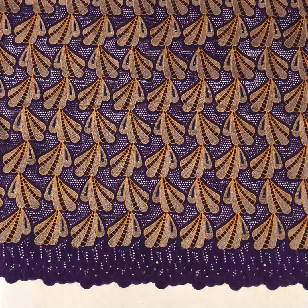 Original african korean swiss lace cotton embroidery fabric for dress