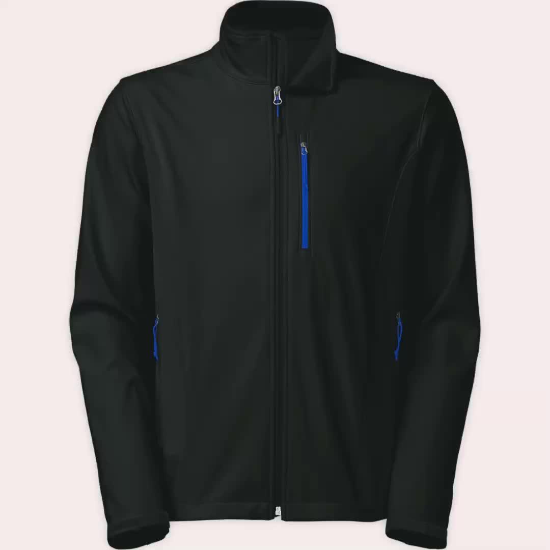 Erkek Ucuz Su Geçirmez Toptan Softshell yumuşak yüzeyli ceket Siyah