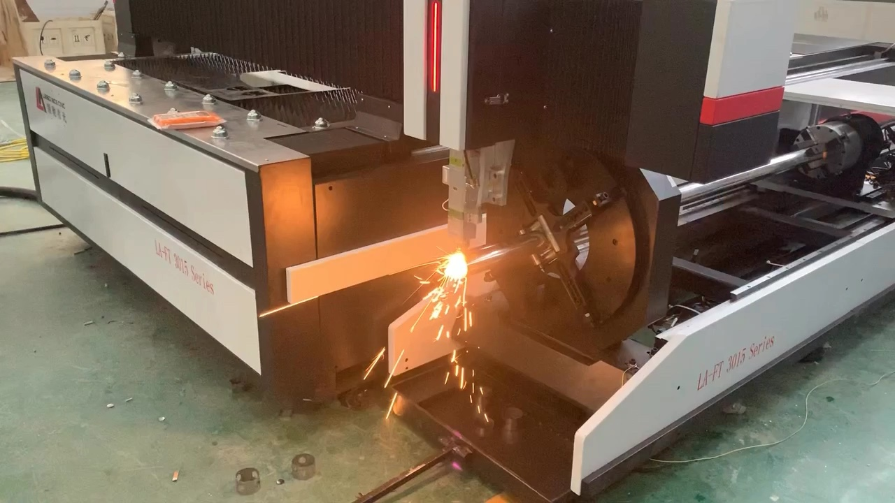 Metal tube and plate fiber laser cutting machine with rotary axis