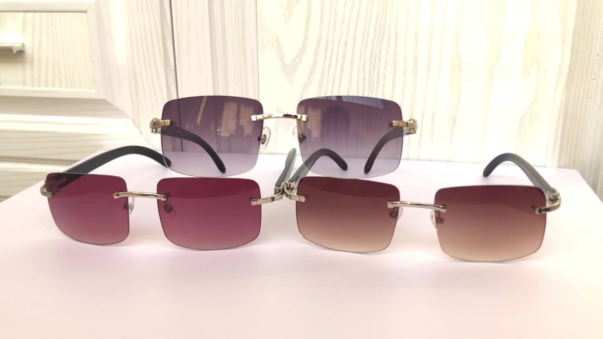Tên thương hiệu sừng trâu sunglasses với không có vành, natural SỬU horn kính