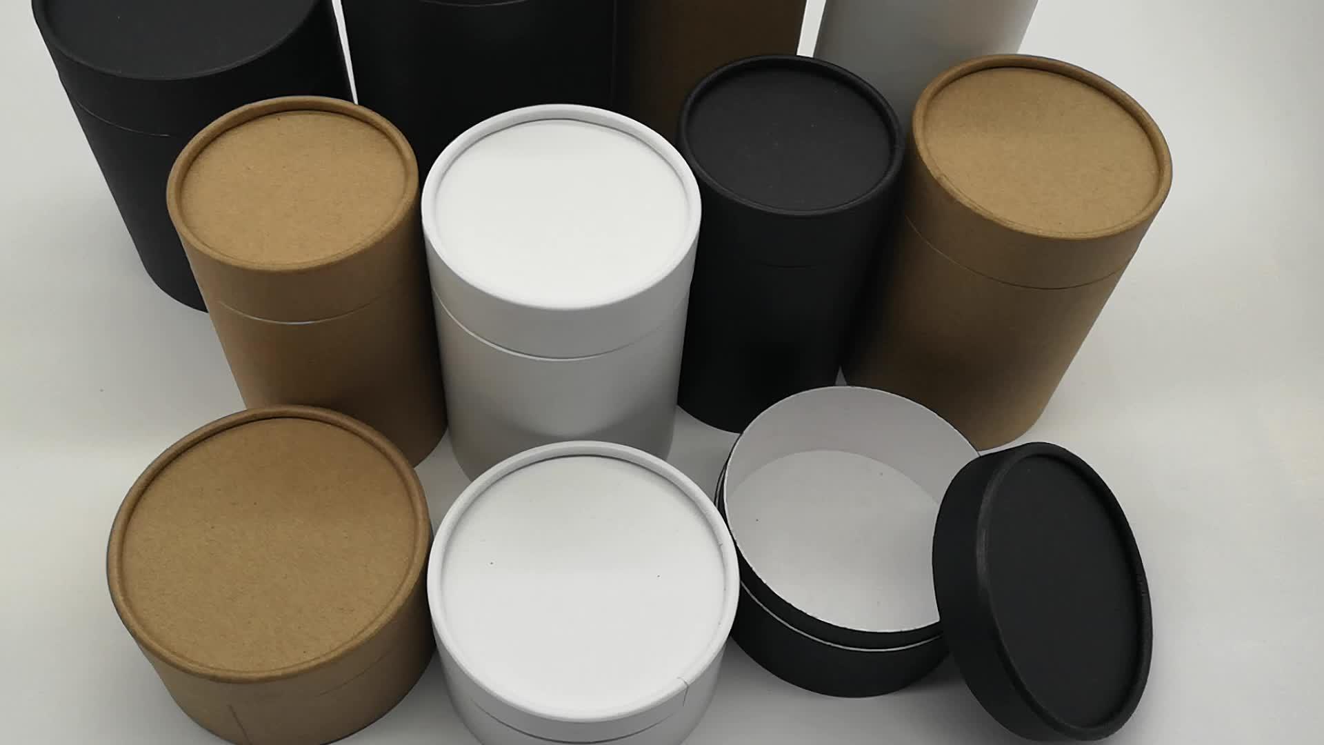 Черная крафт-бумага белая круглая коробка картонная банка бутылка контейнер упаковочная трубка