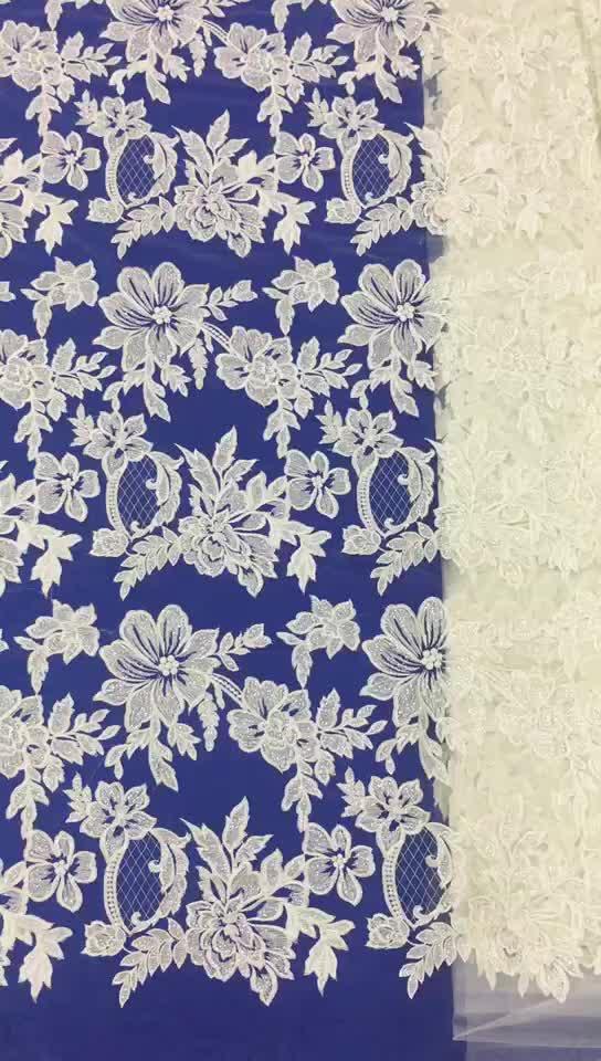 Guangzhou 100 percent clothing ivory bridal lace fabric mesh lace fabric embroidery embroidery lace fabric white