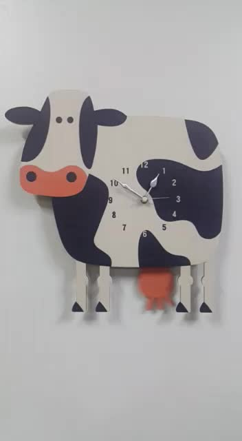 Modern Decorative Cute Cow Pendulum Wall Clock with Swinging Tail Battery Powered and Wall Mountable Home Decor