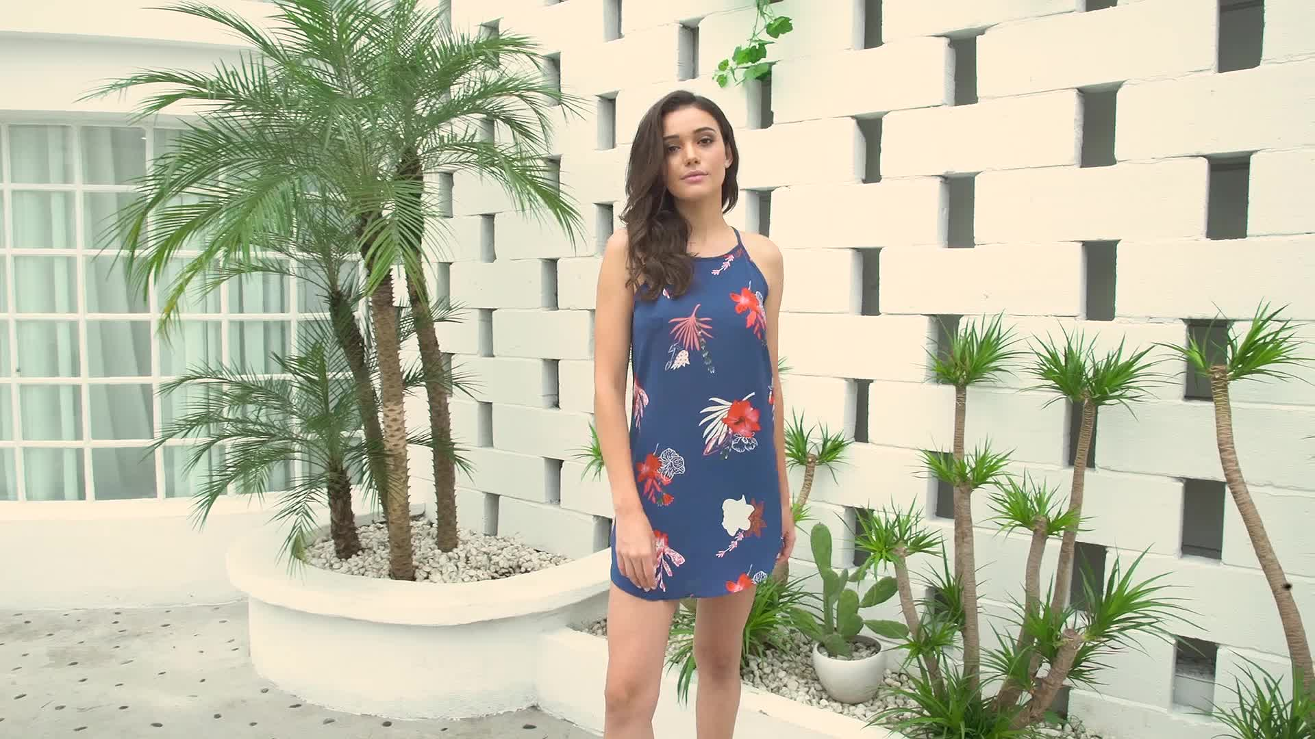 Hot Blooming Red Flower Print Navy Sleeveless Dress