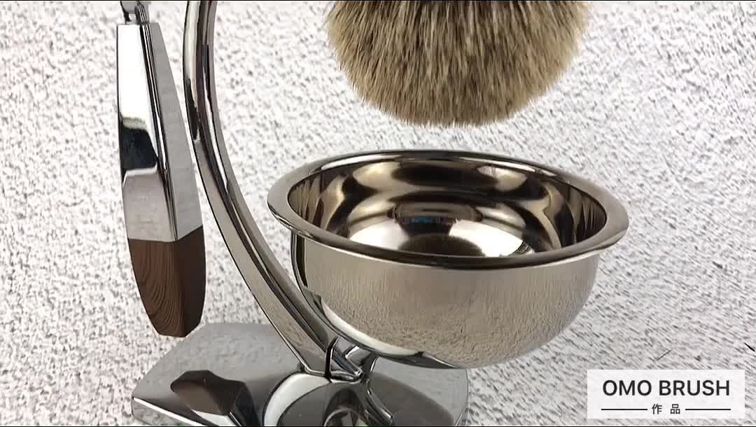 OUMO--New design metal wooden handle mixed badger hair shaving brush set with chrome manual razor and display stand