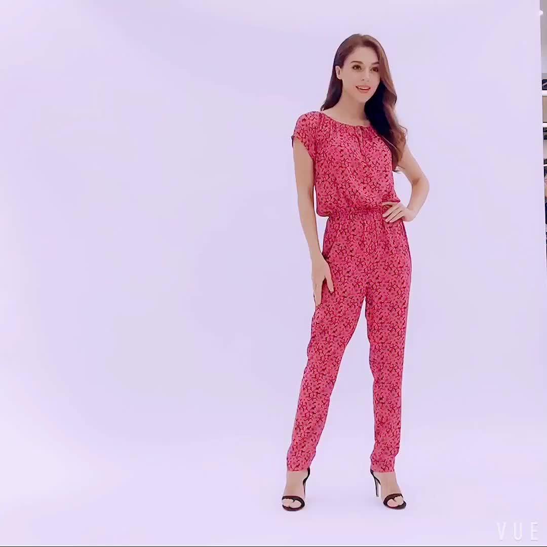 2019 新デザイン綿 100% フラワープリントスキニーロングパンツ女性のカジュアルなロンパース