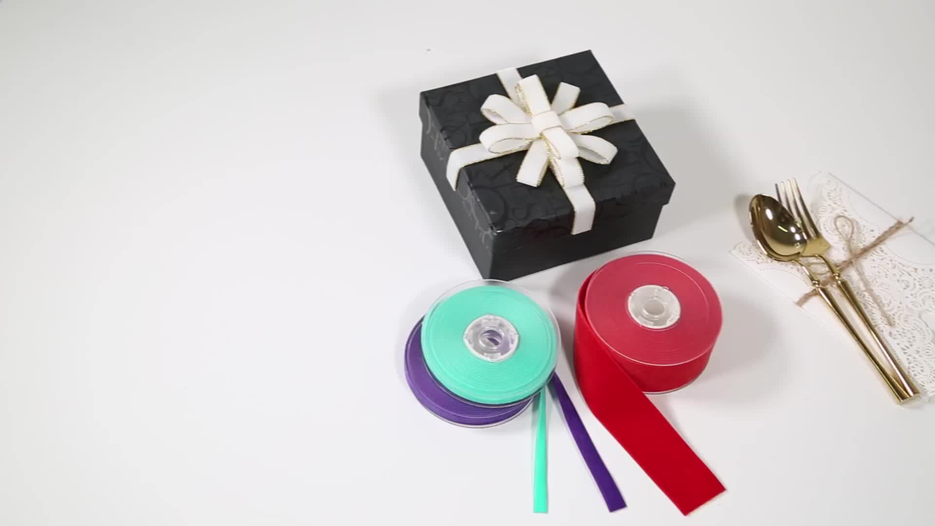 YAMA factory 10 widths stock sales single faced solid color black white velvet ribbon