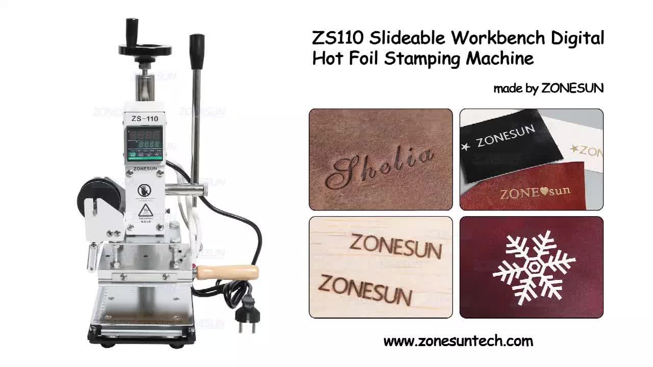 ZONESUN ZS110 डिजिटल गर्म पन्नी मुद्रांकन मशीन चमड़े समुद्भरण गर्मी दबाने मशीन के लिए लकड़ी पीवीसी कागज कस्टम लोगो स्टाम्प