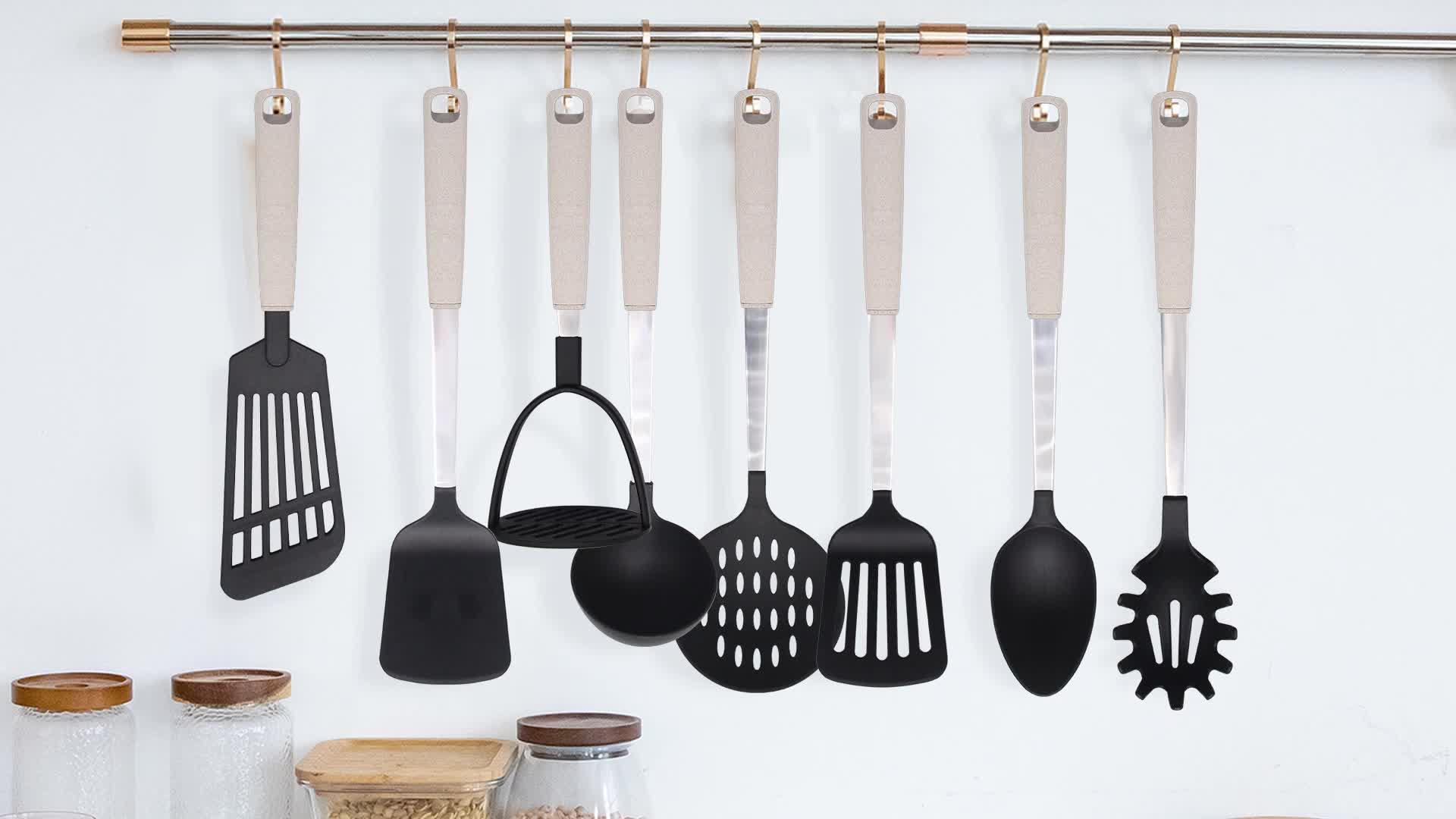 Best Selling! 8 Pcs Kitchen Tools Nylon Material Kitchen Utensils New Material PVD Kitchen Tool Premium Stylish