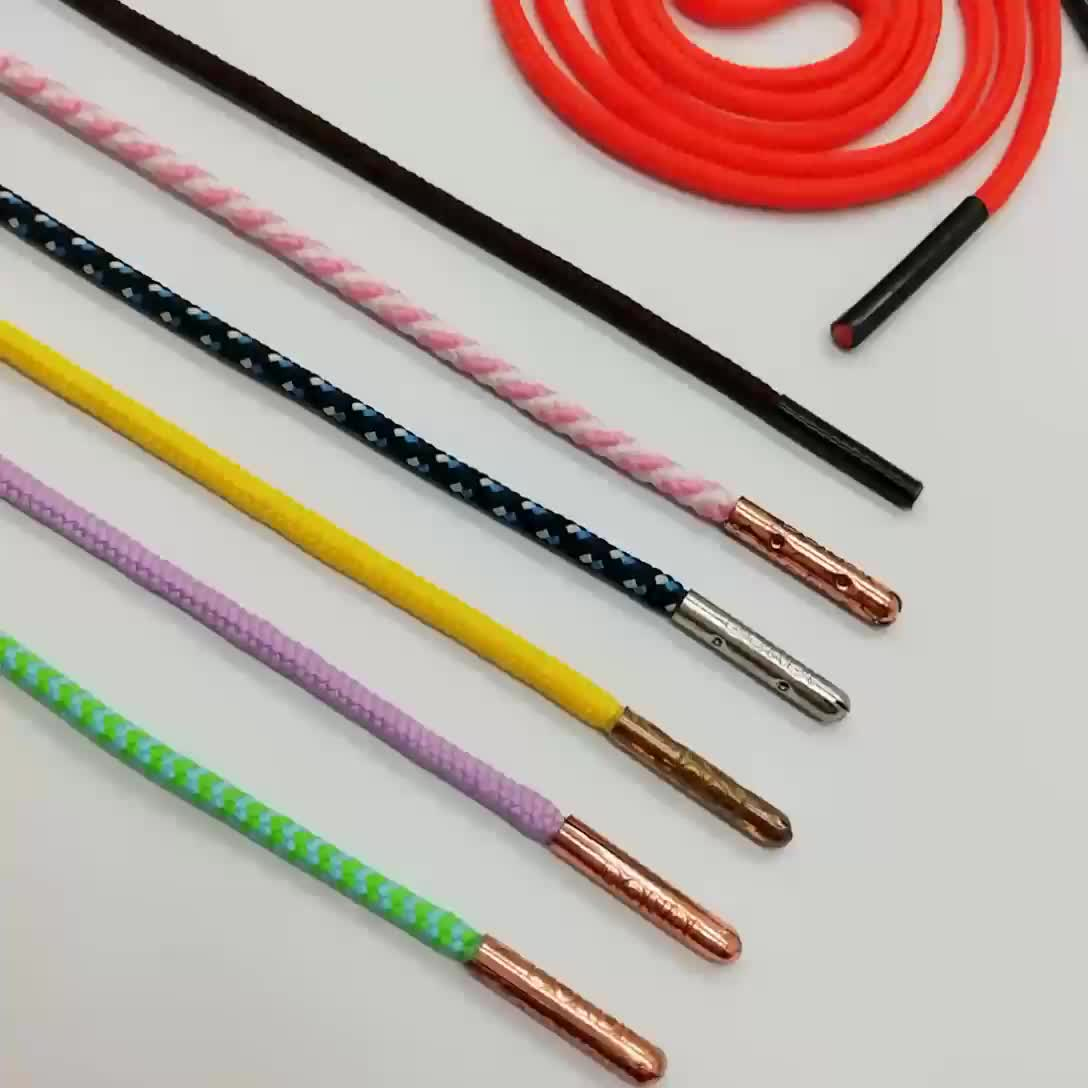 Custom  2mm  metal tips laces round braided shoelaces