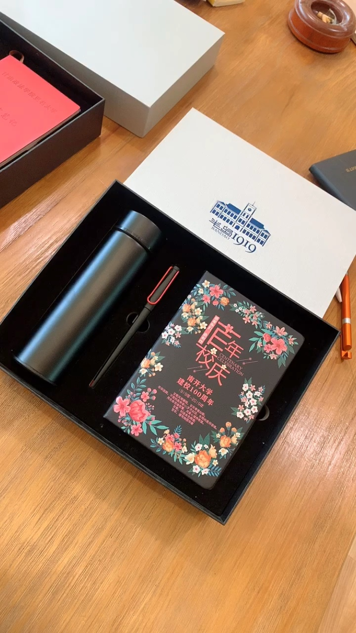 Business Gel pen With Notebook Thermos Cup Customized Logo Gift Set