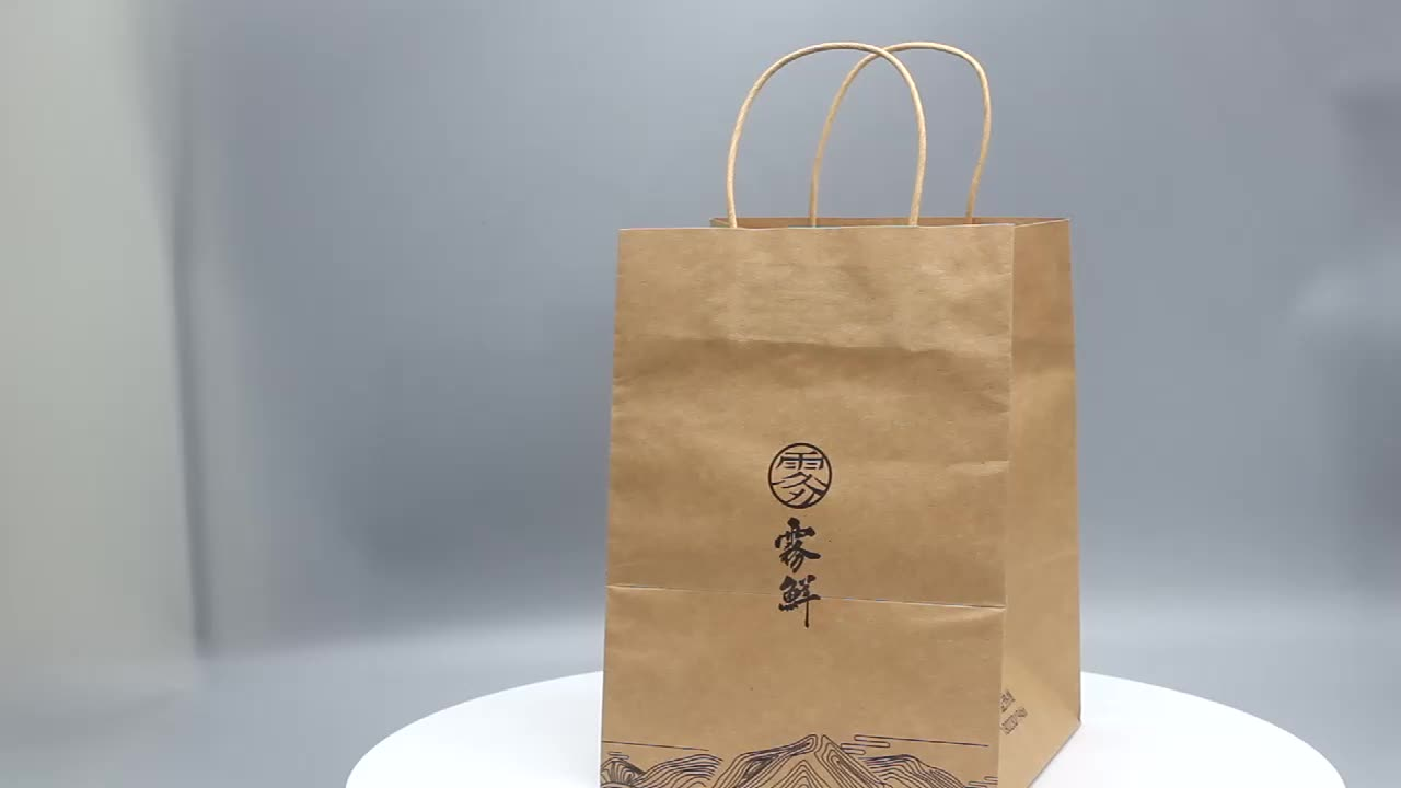 Customized take away food bag fashion shopping bag brown kraft paper bags