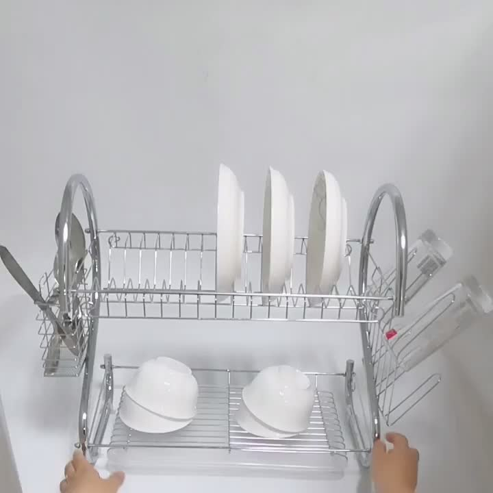 China family used chrome plated plate rack kitchen dish rack supplier