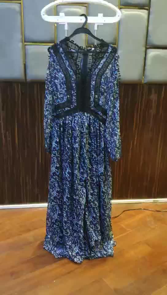 כחול כהה אלגנטי אישה שמלת אתני off-the-כתף אורך רצפת טלאים ליידי מקסי שמלה בוהמי בגדים