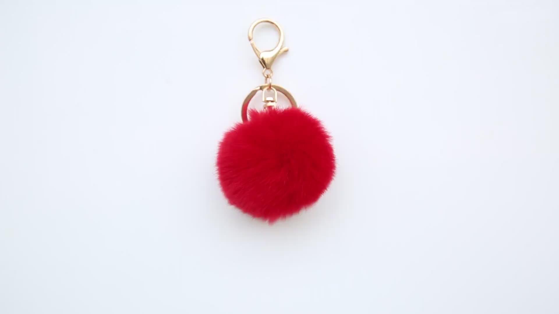 Wholesale Faux Fur Ball With Flamingo Keychain , Fur Pom Poms Key Chain