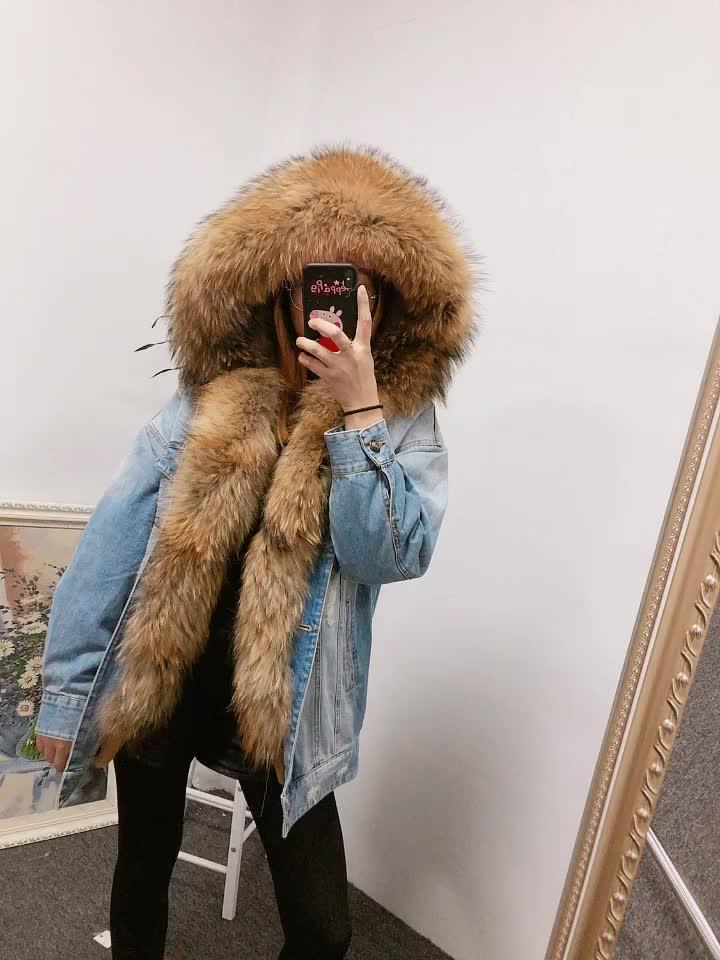 Wholesale Cheap Ladies Overcoat Beautiful Jeans Coat Fashion Winter Denim Fur Parka Coats