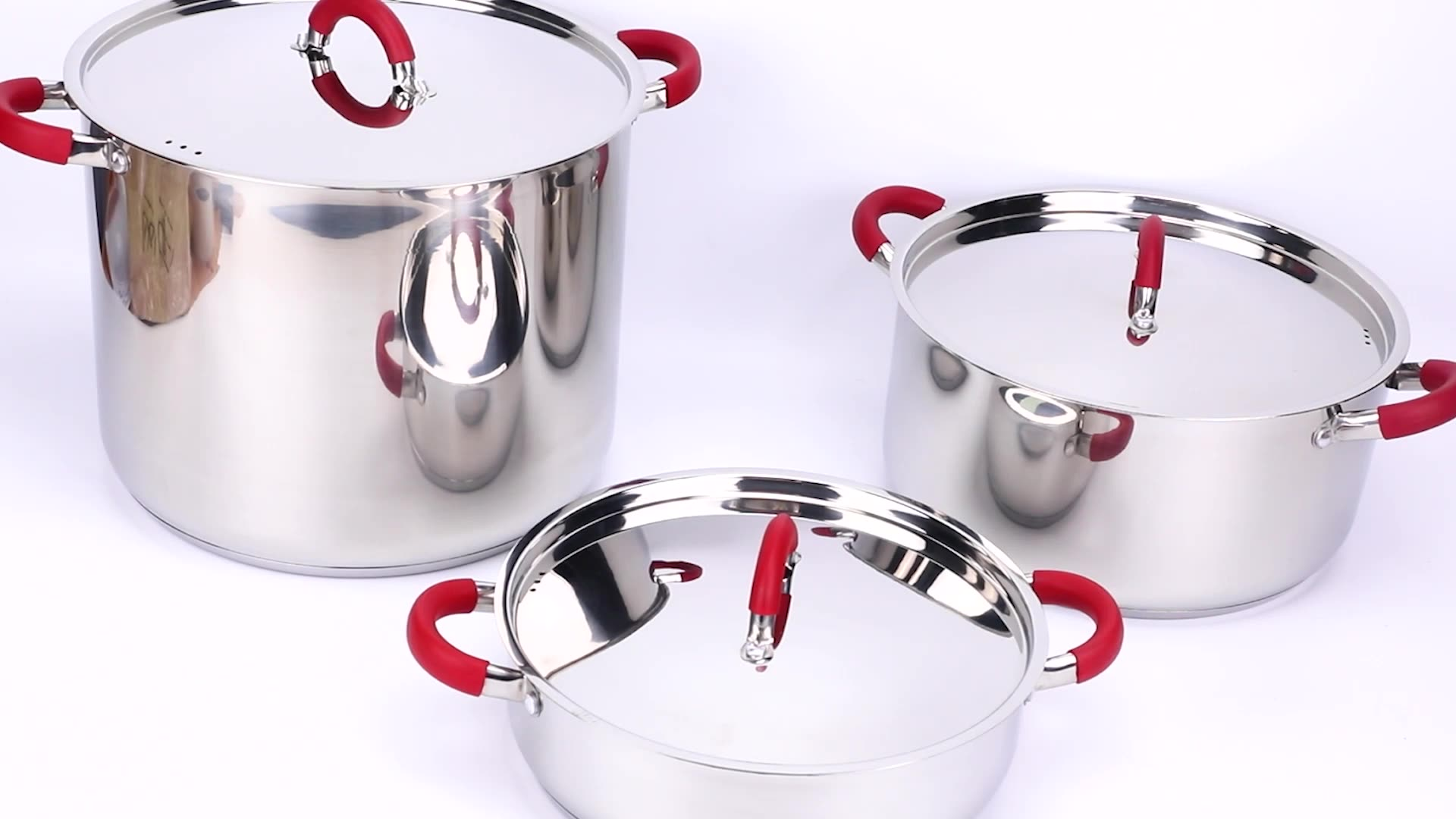 High large stainless steel pot with heat resistant handles MSF-3195